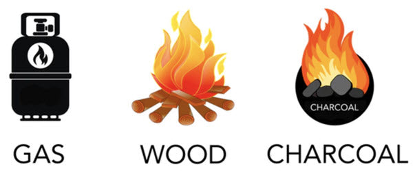 propane wood charcoal icons