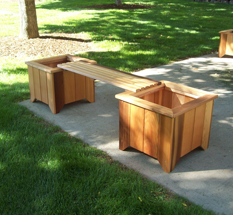 Wood Country Cedar Planter Bench  (2 planters and 1 bench)
