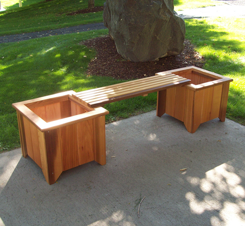 Image of Wood Country Cedar Planter Bench  (2 planters and 1 bench)