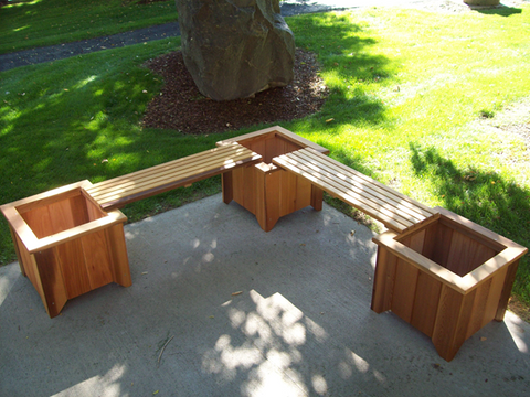 Image of Wood Country Cedar Double Planter Bench  (3 planters and 2 benches)