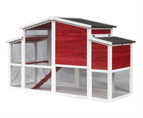 Back Angle View Red Barn Style Chicken Coop
