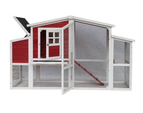 Front View with open hatch Red Barn Style Chicken Coop