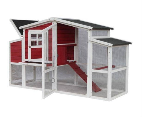 Front Angle View with open hatch Red Barn Style Chicken Coop