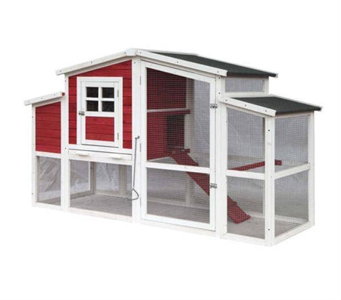 Front Angle View Red Barn Style Chicken Coop