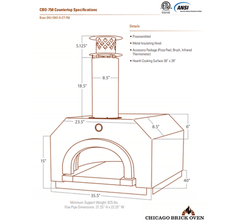 Image of Chicago Brick Oven CBO-750 Countertop - Silver Vein coloring