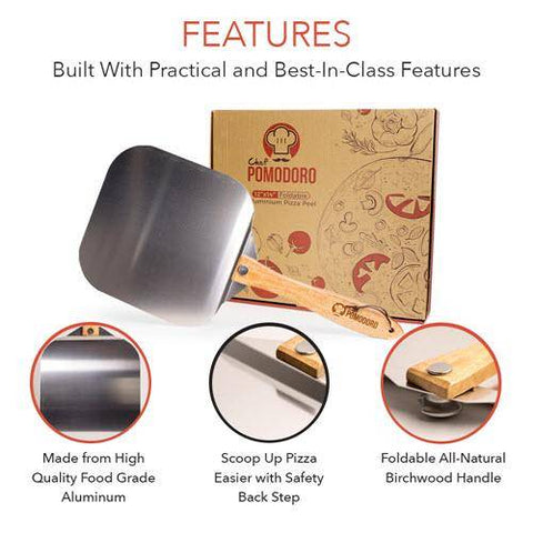 Image of Chef Pomodoro Aluminum Metal Pizza Peel with Foldable Wood Handle