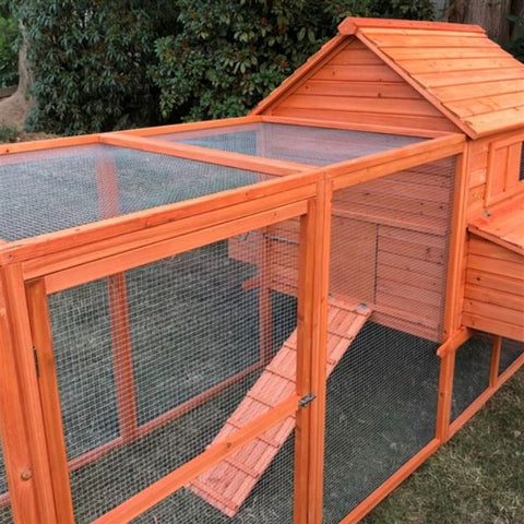 Image of Chicken Coop with Chicken Run Side angle view