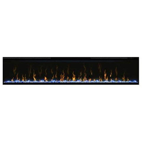 "Dimplex XLF74 Ignite XL 74"" Electric Fireplace with blue media displayed"