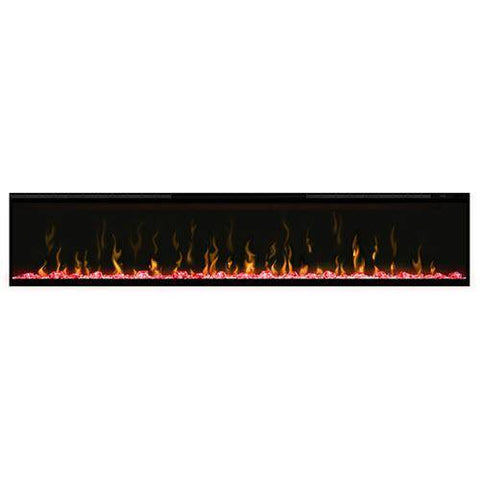 "Image of Dimplex XLF74 Ignite XL 74"" Electric Fireplace with red media displayed"