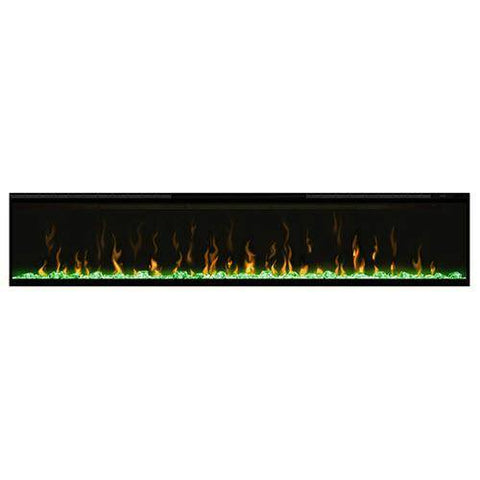 "Image of Dimplex XLF74 Ignite XL 74"" Electric Fireplace with green media displayed"