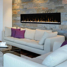 "Dimplex XLF74 Ignite XL 74"" Electric Fireplace mounted in a stone accent wall"