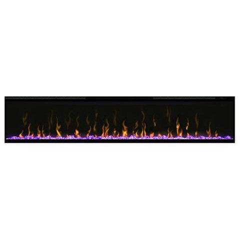"Dimplex XLF74 Ignite XL 74"" Electric Fireplace with purple media displayed"