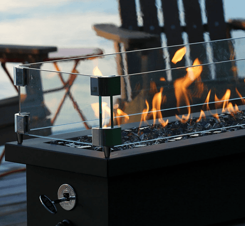"Image of Wind Guard for 48"" Tabletop Linear Outdoor Fire Stand"