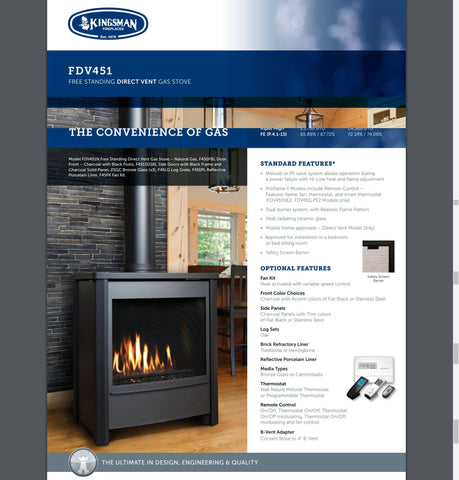 Image of Kingsman FDV451 Free Standing Direct Vent Gas Stove