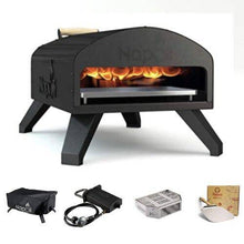 Bertello portable outdoor pizza oven bundle with cover propane gas burner wood tray and foldable pizza peel