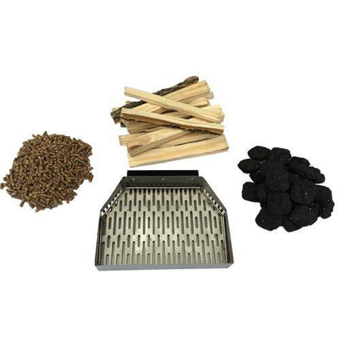 Image of Wood burning tray for Napoli Bertello Portable Outdoor Pizza Oven with wood pellets, wood sticks, and charcoal