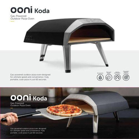 Image of Ooni Koda feature overview with a studio picture and lifestyle image with the new perforated peel