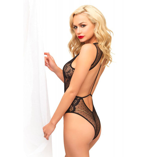 Leg Avenue Swiss Dot And Lace Keyhole Teddy