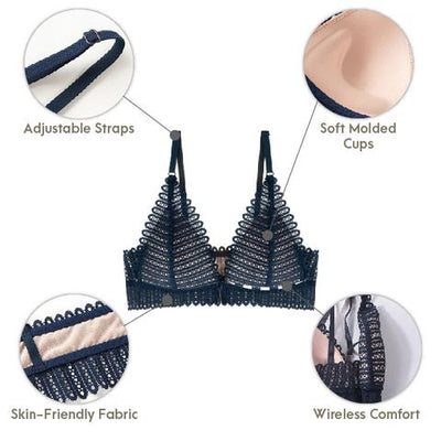 Breathy Front Buckle Lace Bra, Anti Sagging Front Cross Buckle Wireless Bra
