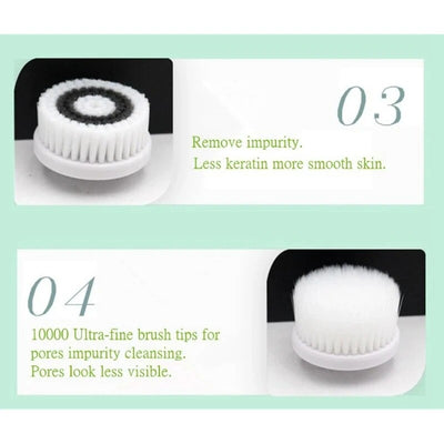 Facial Cleansing Brush With Changable Heads & Stand Waterproof