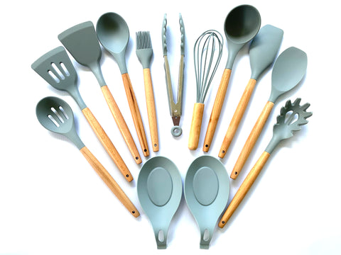 Premium Wood and Silicone Kitchen Cooking & Baking Utensil Set. (12 piece)