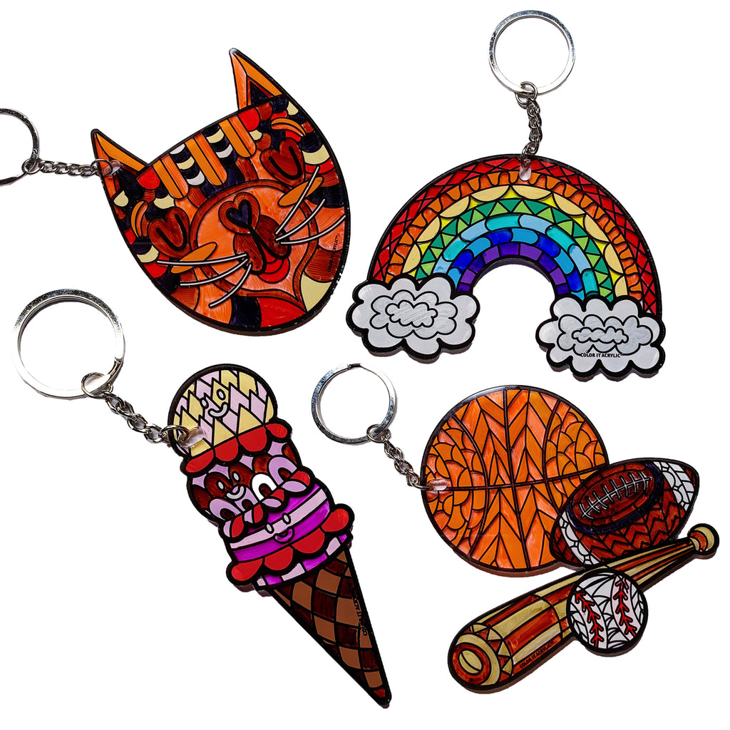 Kitten, Butterfly, Ice Cream, Sports Keychain Set