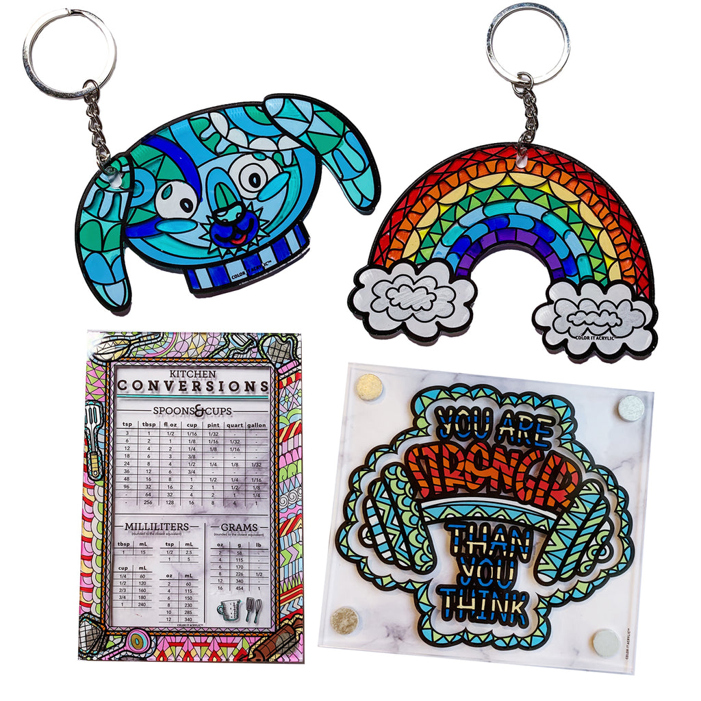 Puppy & Rainbow Keychains + Kitchen Conversions & You are Stronger Magnets