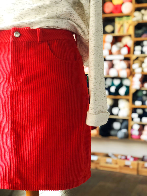 Megan Nielsen Jarrah Sweatshirt & Red Cotton Corduroy Tilly and the Buttons Ness Skirt