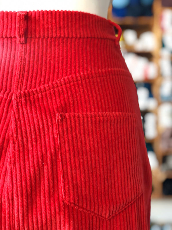 Red Cotton Corduroy Tilly and the Buttons Ness Skirt