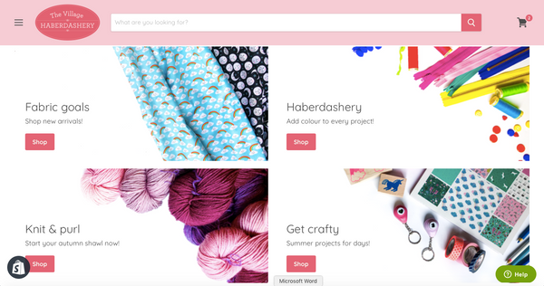 The Village Haberdashery's new homepage!