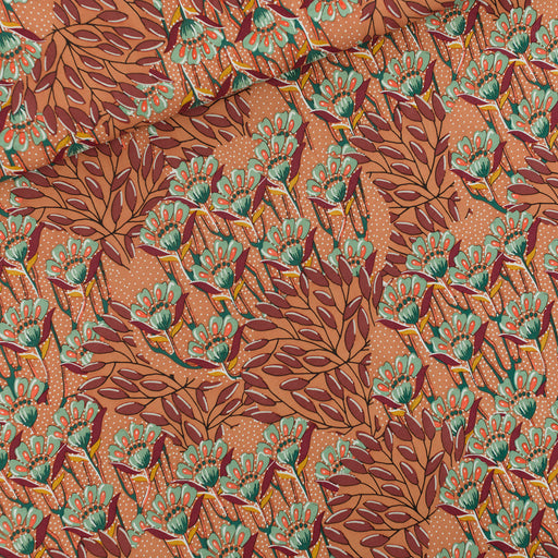 Sunburn Brown Gilly Flowers Viscose Rayon by See You at Six - The Village Haberdashery