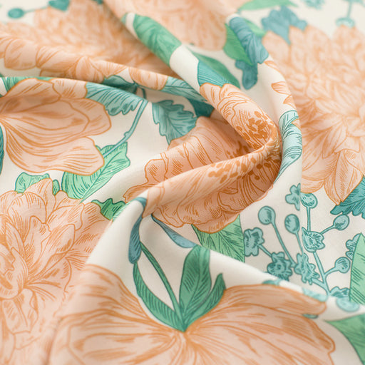 Sea Salt White Peonies Viscose Rayon by See You at Six - 80cm remnant - The Village Haberdashery