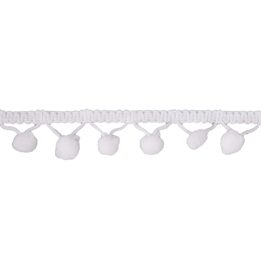 Pom Pom Trim - White - 20mm - The Village Haberdashery