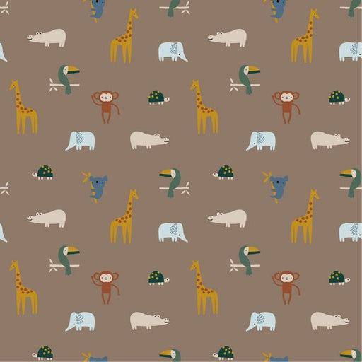 Taupe Happy Animals Cotton Poplin - The Village Haberdashery