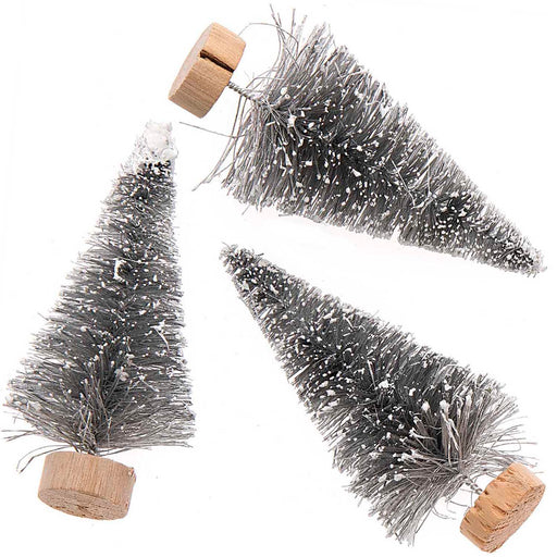 Silver Bottle Brush Fir Trees - 7cm - The Village Haberdashery