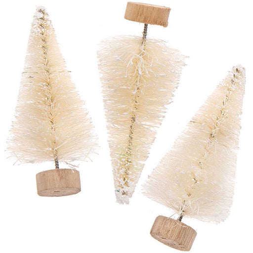 White Bottle Brush Fir Trees - 7cm - The Village Haberdashery