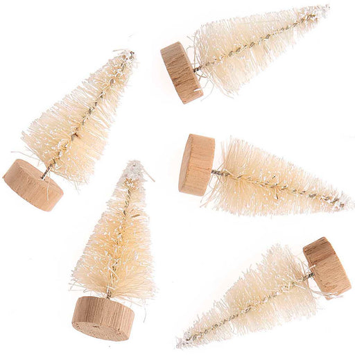 White Bottle Brush Fir Trees - 5cm - The Village Haberdashery