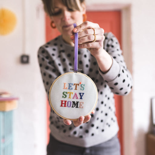 Let's Stay Home Cross Stitch Hoop Kit by Cotton Clara - The Village Haberdashery