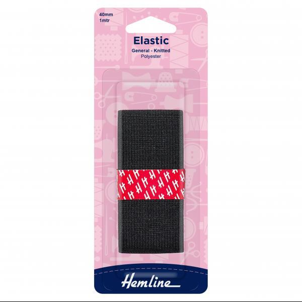 Knitted Elastic - Black, 40mm - The Village Haberdashery