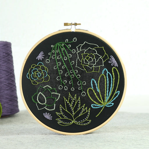 Black Succulents Embroidery Kit by Hawthorn Handmade - The Village Haberdashery