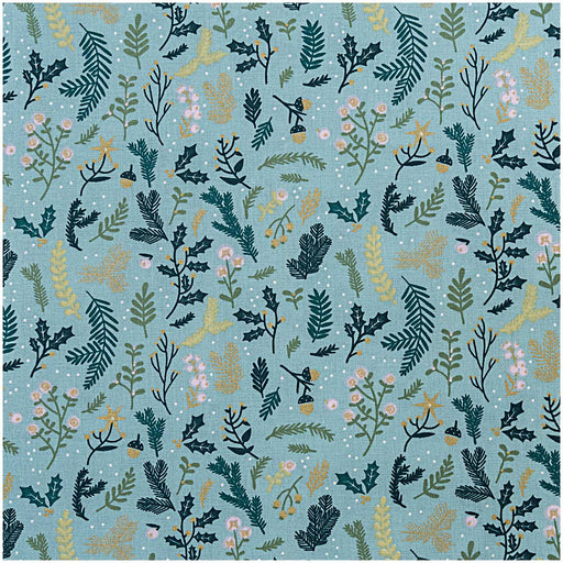 Mint & Gold Branches Cotton from Classical Christmas - The Village Haberdashery