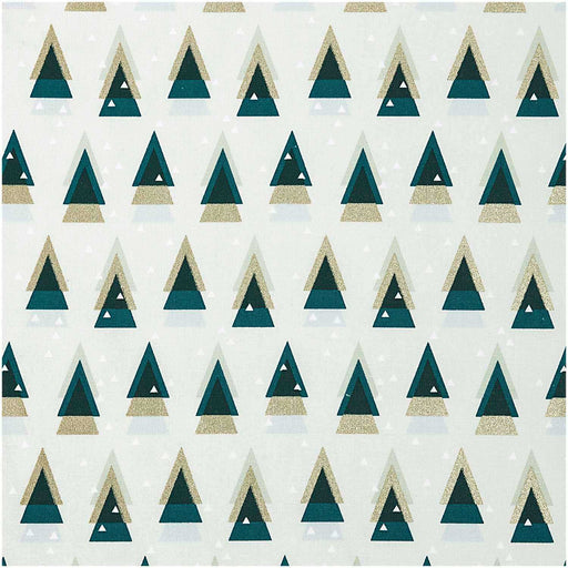 Jolly Christmas - Graphic Firs in Evergreen and Gold - The Village Haberdashery