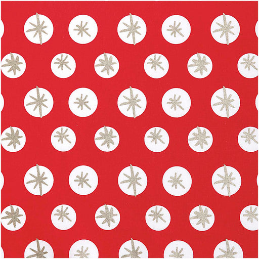 Jolly Christmas - Snowflakes in Red and Gold - The Village Haberdashery