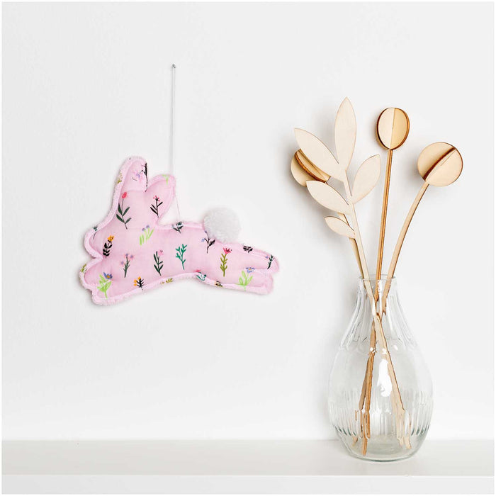 Bunny Hop Double Gauze - Scattered Flowers in Pink & Neon - The Village Haberdashery
