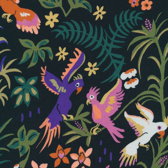 Garden of Eden Exuberant Cockatoos Organic Cotton - The Village Haberdashery
