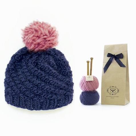 Stitch & Story Knit Kit: Luca Pom Hat in Silent Night and Pink - The Village Haberdashery