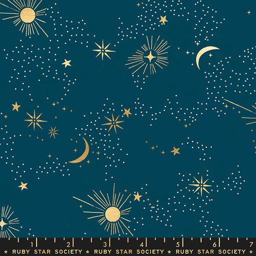 Dark Teal Cosmos Cotton from Florida by Sarah Watts for Ruby Star Society - The Village Haberdashery