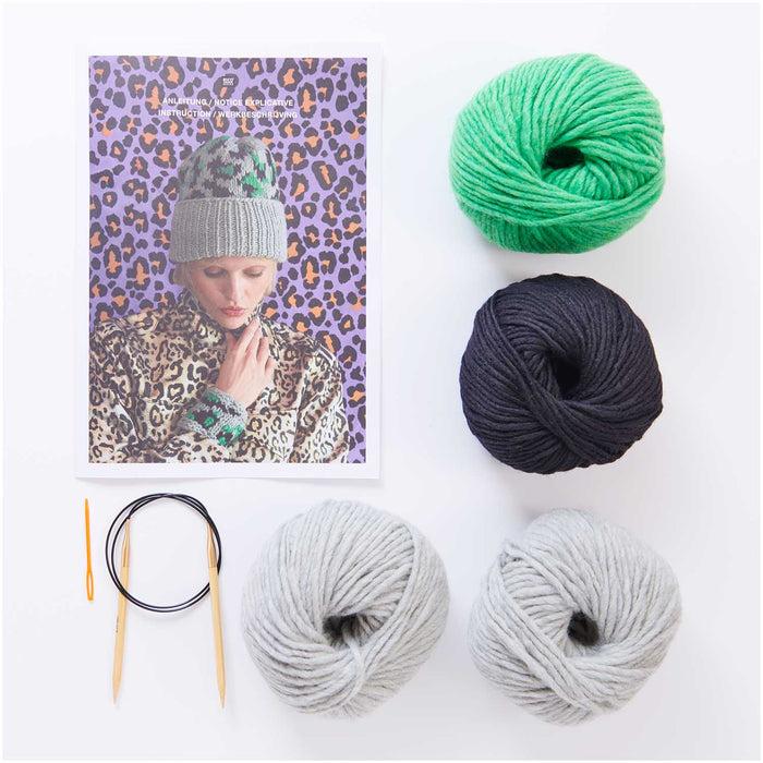 Grey Leo Hat Knit Kit - The Village Haberdashery
