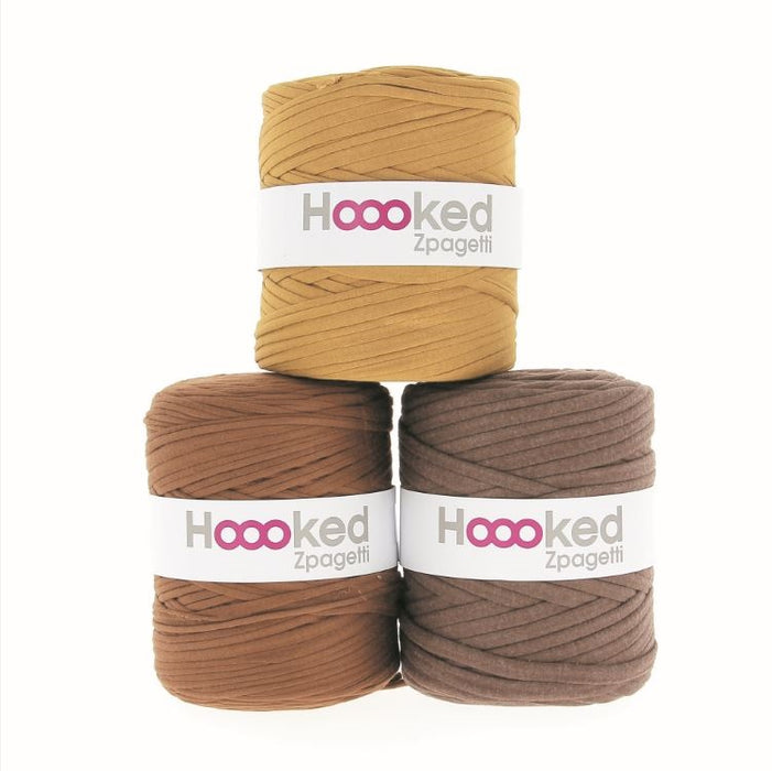 Hoooked Zpagetti T-Shirt Yarn - 120m Bobbins - Cognac Brown Shades - The Village Haberdashery