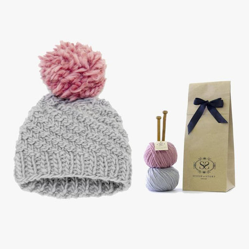 Stitch & Story Knit Kit: Luca Pom Hat in Stormy Grey and Pink - The Village Haberdashery